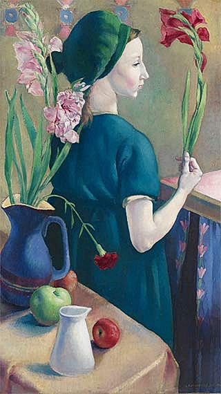 Artist Clara Klinghoffer: The Girl with Flowers, 1920