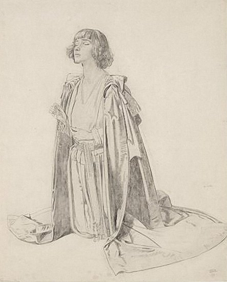 Artist William Orpen: Kneeling Figure of Woman - a Study for The Holy Well, circa 1914 - 15