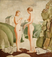 Artist Geoffrey Clement Cowles: Two nudes standing by a river, circa 1920
