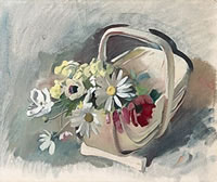 Artist Bernard Fleetwood Walker: Trug with dog daisies: study for Amity, circa 1933