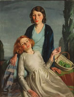 Artist Bernard Fleetwood Walker: Double Portrait - probably the artists wife and her younger sister