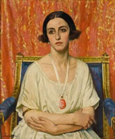 Artist Laura Knight: Portrait of Lubov Tchernicheva, 1921